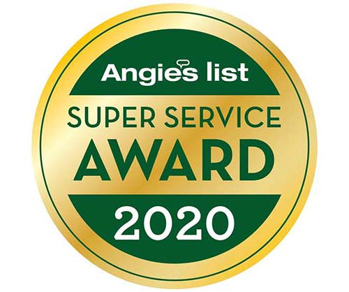 Winner of Angie's List 2020 Super Service Award
